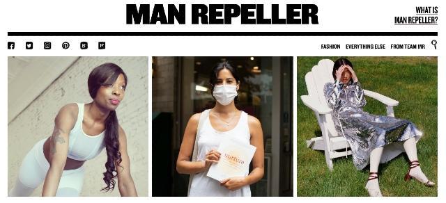 Zrzut ekranu bloga o modzie Man Repeller, który jest dobrym źródłem informacji o blogowaniu do umieszczenia w kalendarzu publikacji.