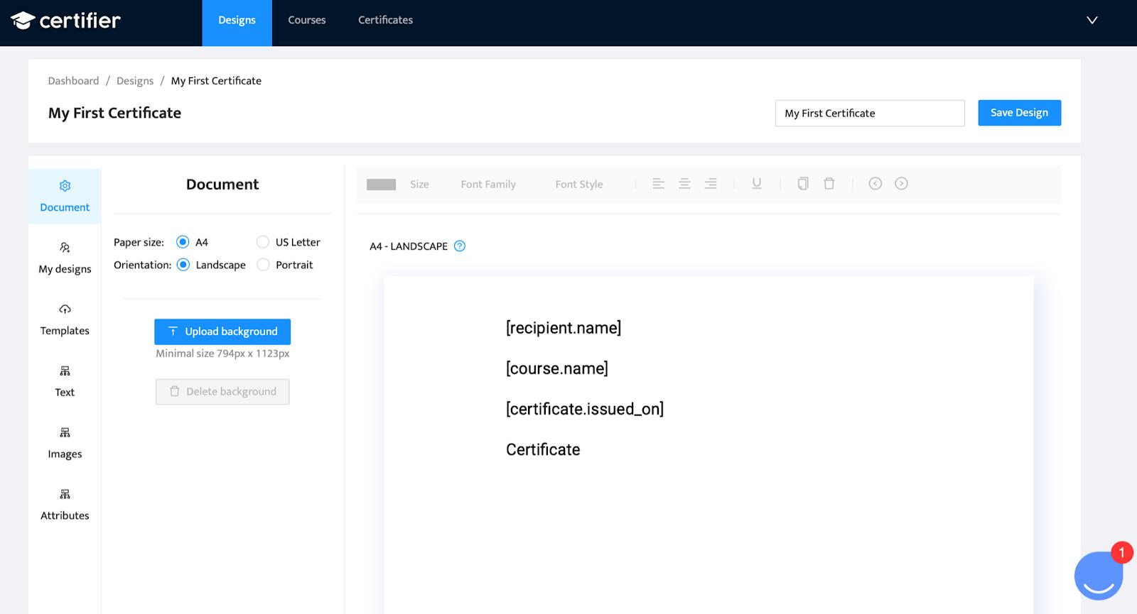certifier dashboard - add attributes to new certificate design