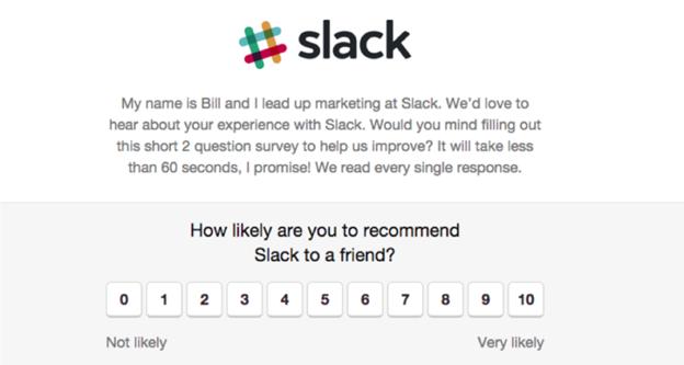 slack generating saas reviews using NPS