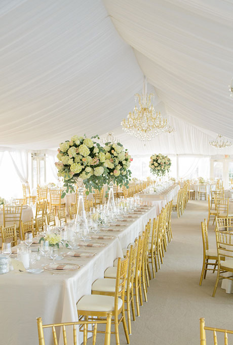 Beautiful Wedding Tent Ideas: Draped Fabric and Hanging Chandelier