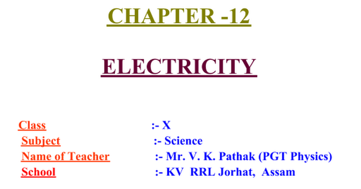 ELECTRICITY ppt - Google Slides
