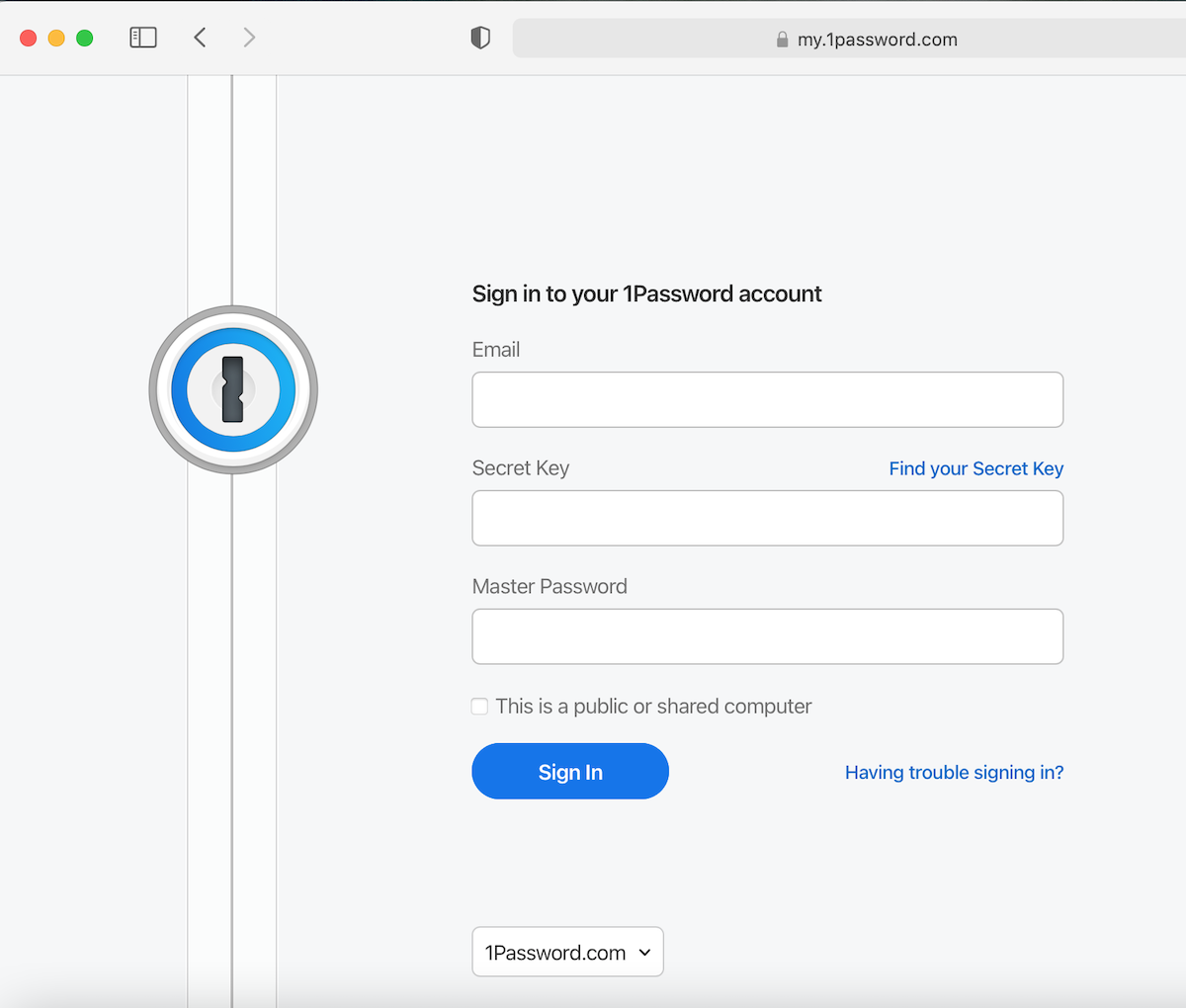signing in to 1Password on browser.