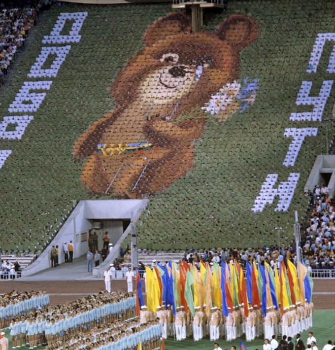 O ursinho Misha se tornou o símbolo das Olimpíadas de 1980 (Imagem: Wikimedia Commons)