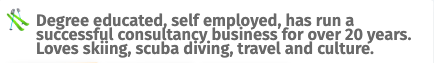 Profile 2: Degree-educated, self-employed, has run a successful consultancy business for over 20 years