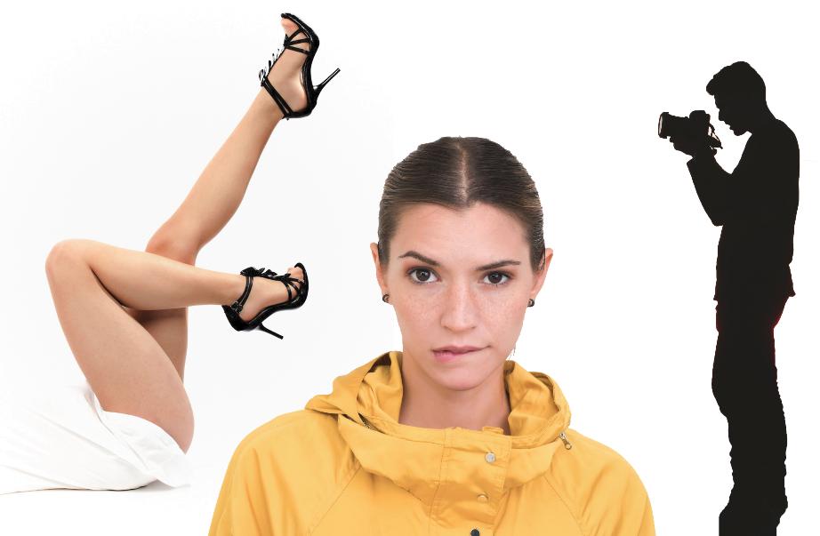 gambe, volto donna, silhouette fotografo. attenzione come catturarla