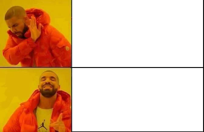 Struttura del meme classico: un quadrato con due immagini che non cambiano e due spazi vuori che vanno riempiti.