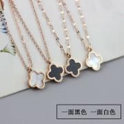 Internet Celebrity Clover Titanium Steel Necklace Female Ins Korean Style Simple Lock Bone 18K Rose Gold Double-Sided Pendant Same Type as TikTok