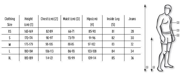 medida de roupas para homens Conversão Tamanho de Roupas EUA x Brasil