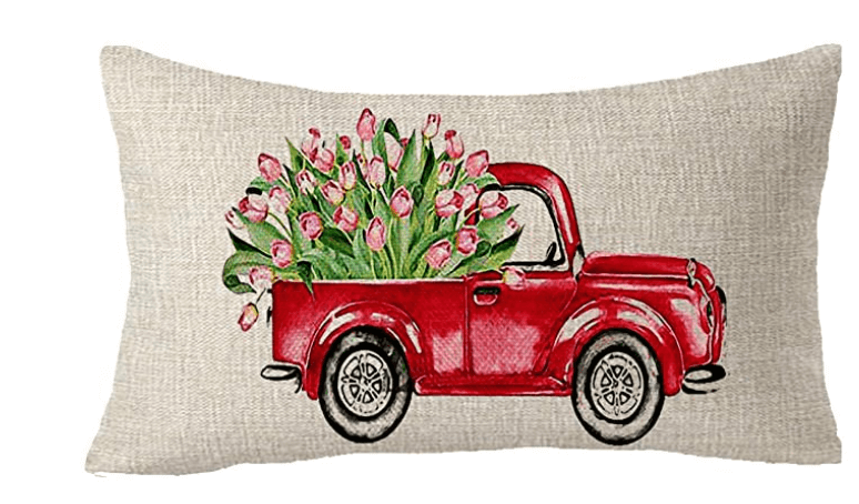 Throw pillow cover truck with tulips