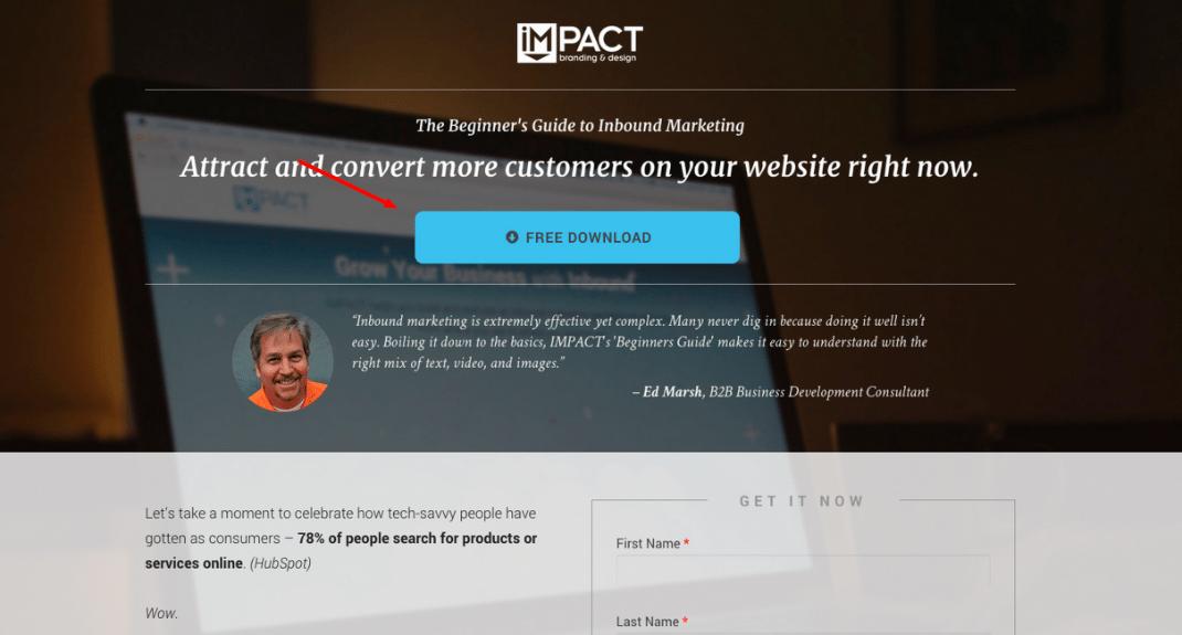 Impact Branding & Design Ebook Landing Page Free Download