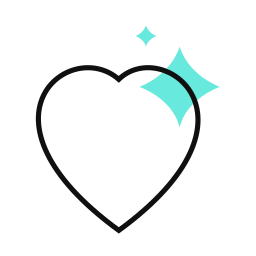 A heart with stars on the top-right corner