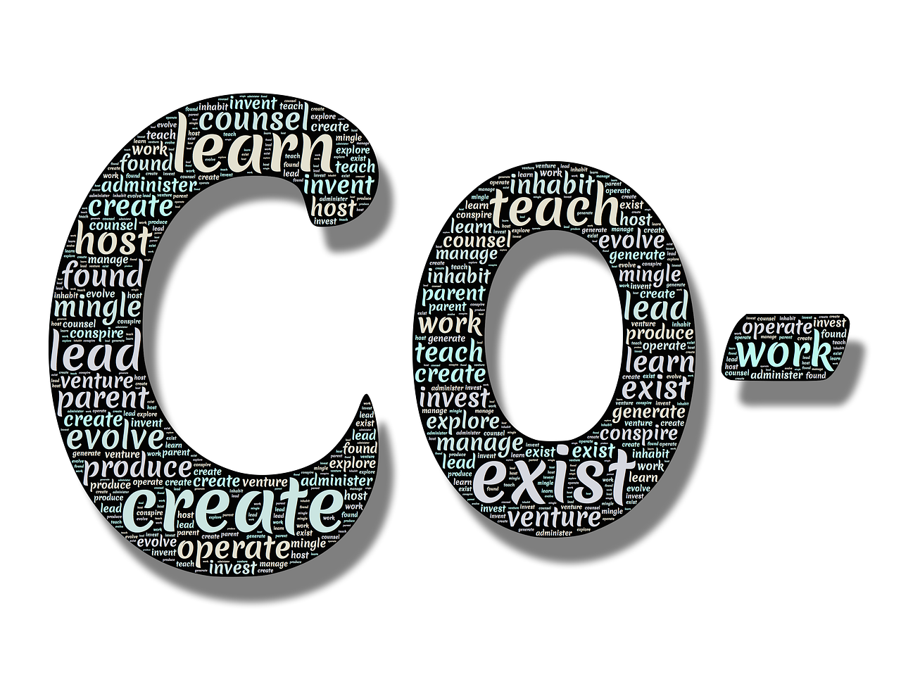 letters C and ) with embedded words in them such as learn, exist, teach, create, host, lead, etc.