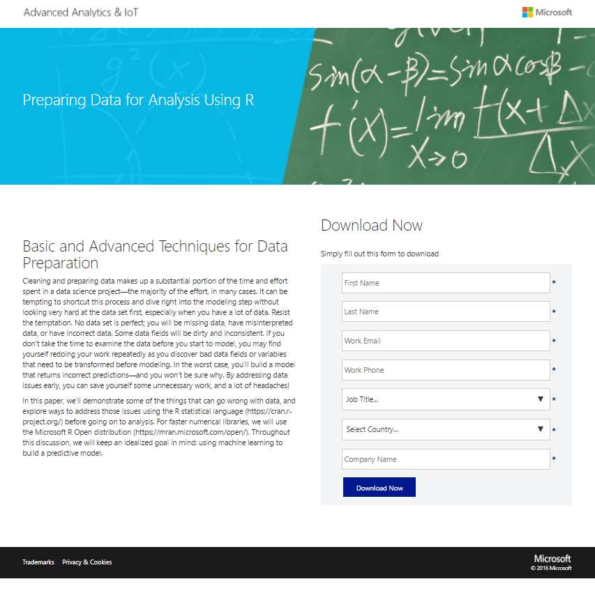Microsoft Landing Page with Block Text is shown