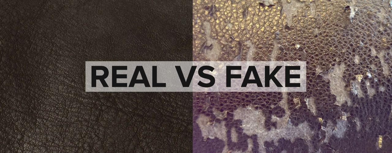 Image of real vs fake leather