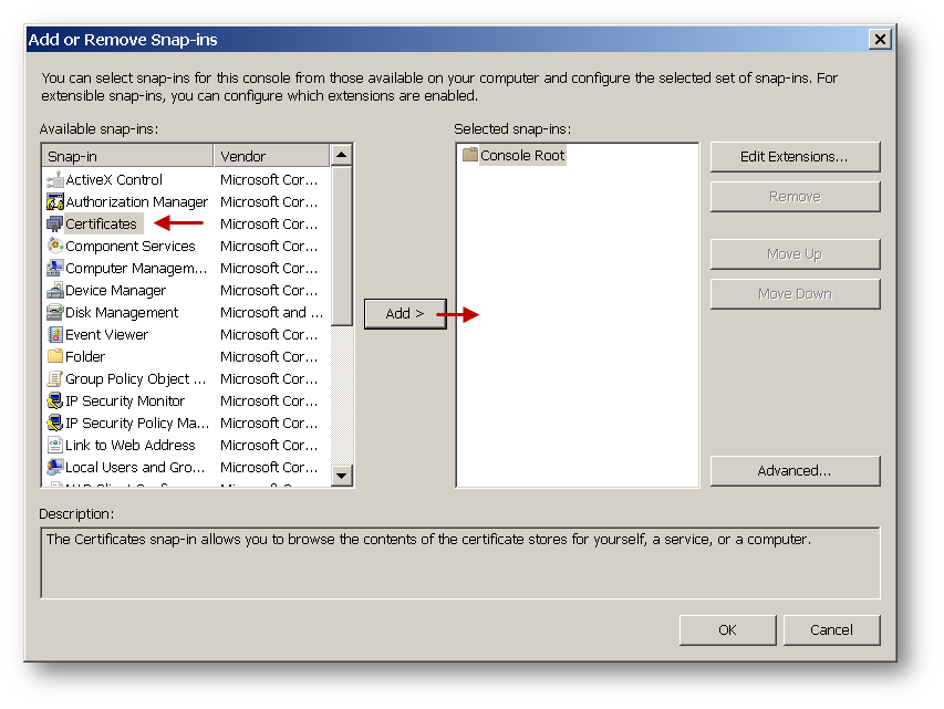 How to add a certificate to Windows Certificate manager certmgr.msc?