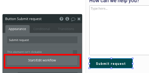 Submitting a Zendesk support request, workflow in Bubble