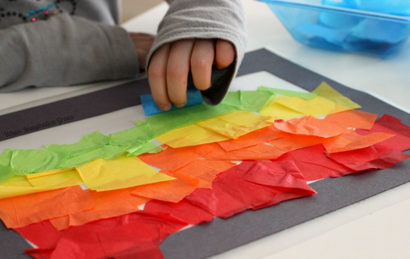 Rainbow Art Ideas - Tissue Paper Rainbows