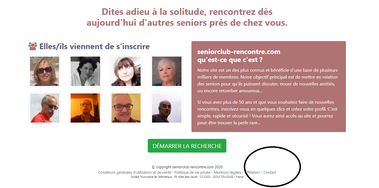 Comment contacter Senior Club Rencontre ?
