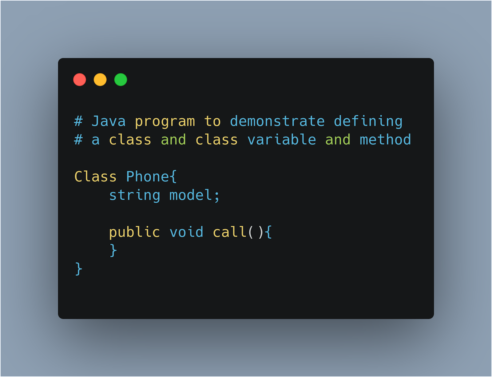 java class creation example