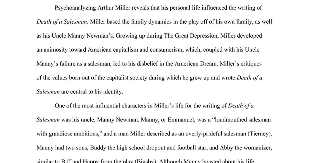 psychoanalysis of arthur miller in death of a sman castellani psychoanalysis of arthur miller in death of a sman castellani wichman and williams google docs