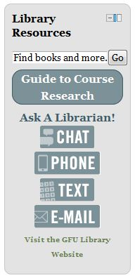 Library resources block with a research guide.