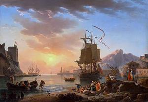 Joseph Vernet, Marine, soleil couchant, 1772, huile sur toile, Musée du Louvre, Paris