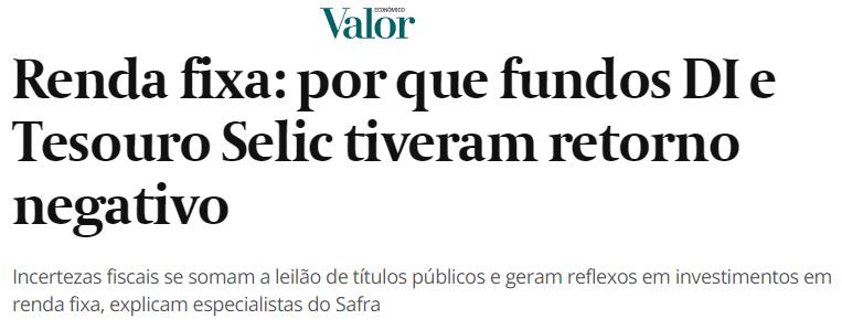 renda variável, manchete valor econômico Taxa Selic