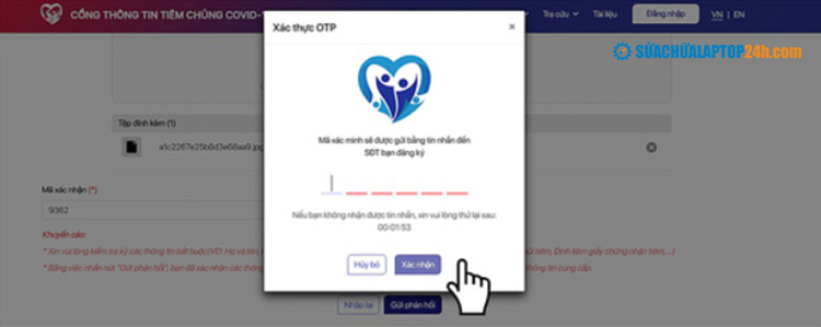 Nhập mã OTP và bấm Xác nhận
