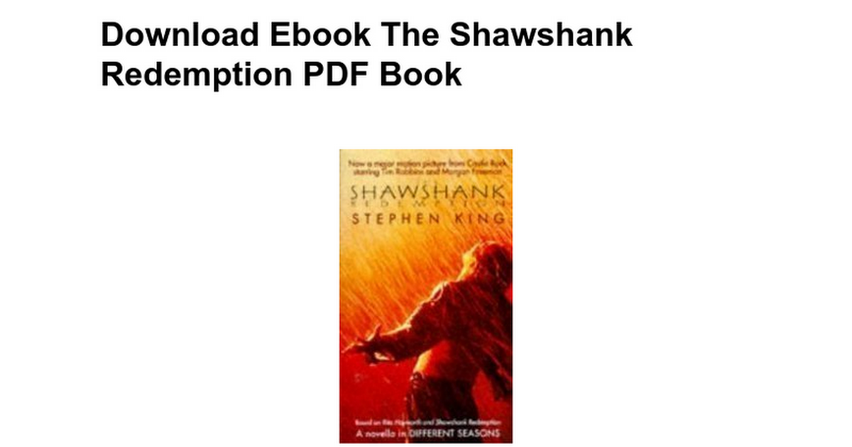 Download ebook the shawshank redemption free pdf book google docs fandeluxe Choice Image