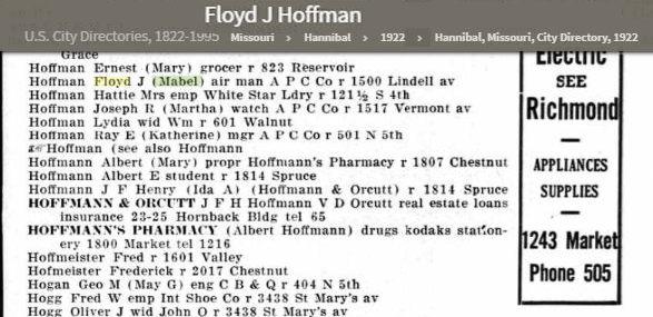 Floyd and Mabel Hoffman City Directory 1922.jpg