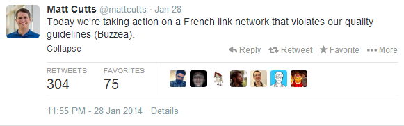 Google took action against a French link network that violated its guidelines