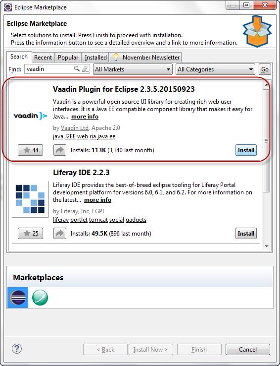 Select Vaadin plugin