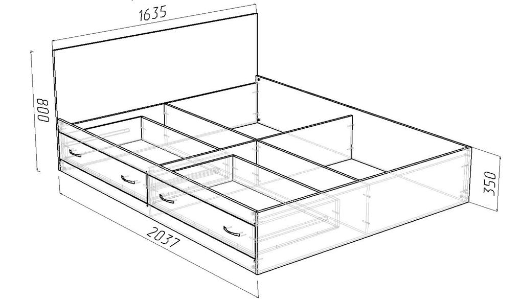 Чертеж двуспальной кровати с ящиками
