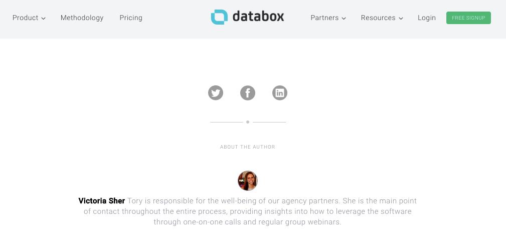 Author bio example on Databox's blog