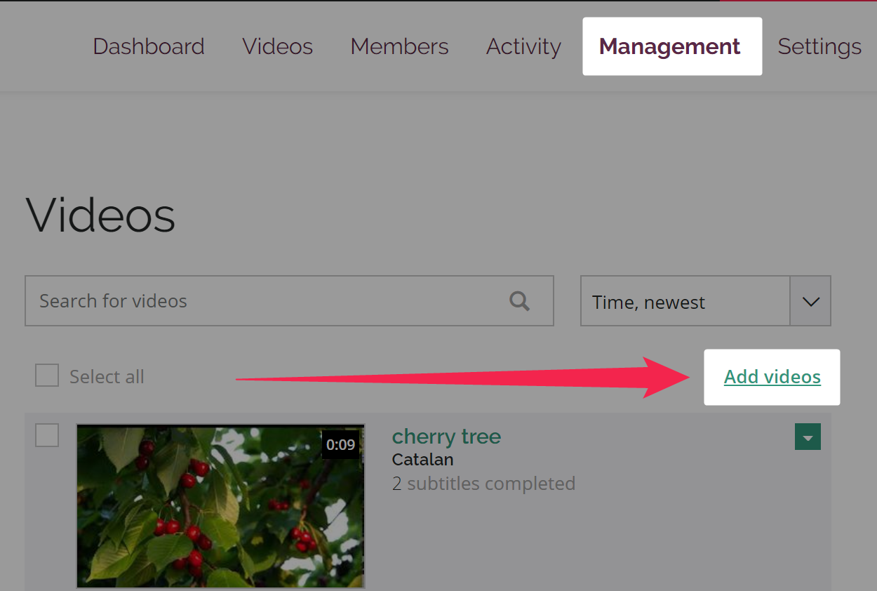 Management page of Amara team with Add videos link highlighted