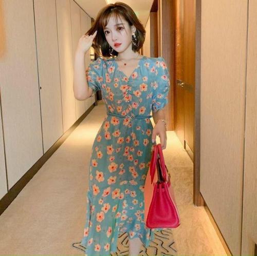 Đầm Hoa Lụa Đuôi Cá - HN923