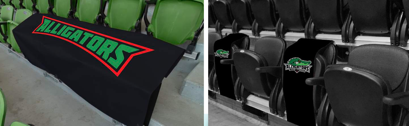 Examples of social distancing print graphics for stadiums