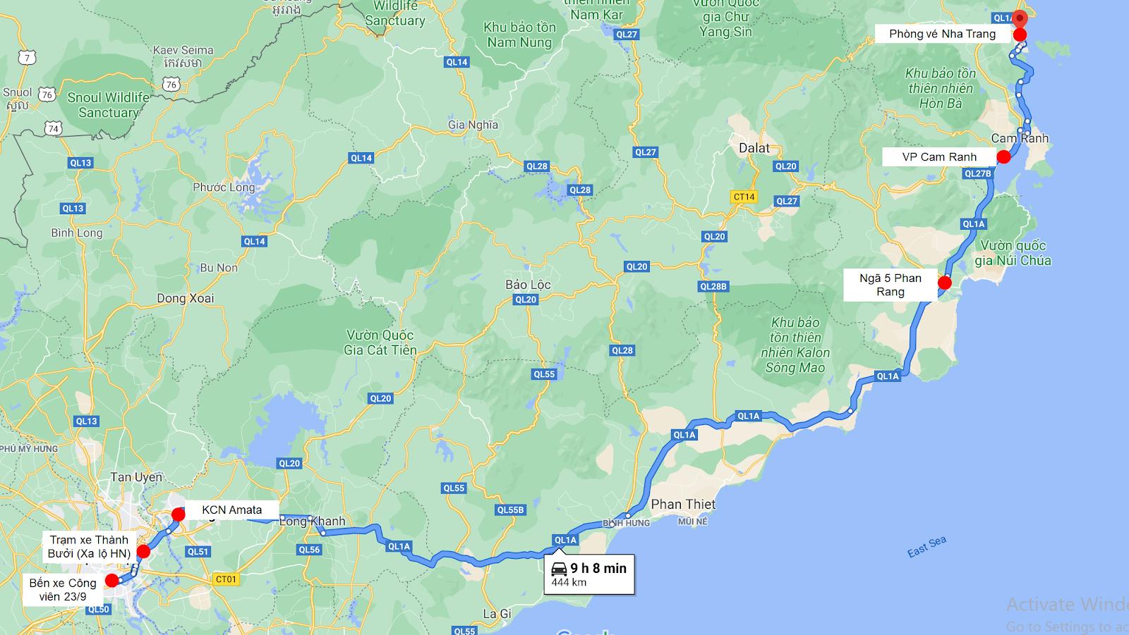 Lộ trình của nhà xe Trà Lan Viên đi Nha Trang