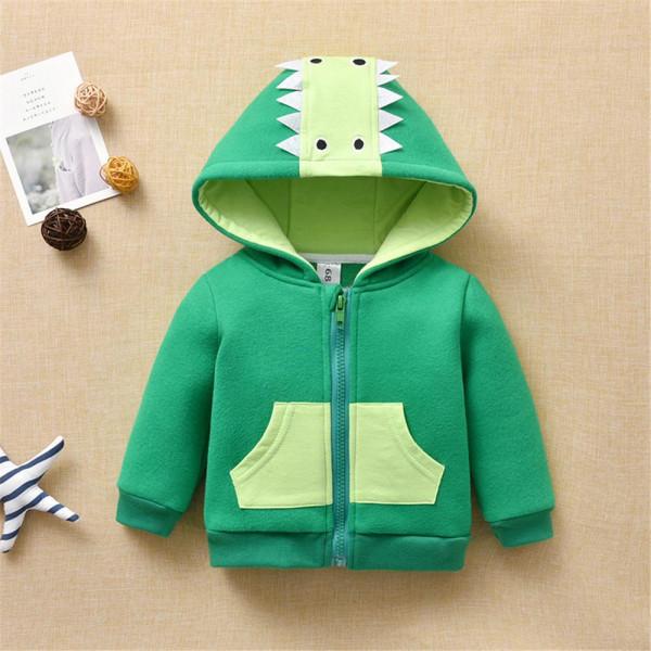Little Boy Green Dinosaur Zipper Hooded Jacket