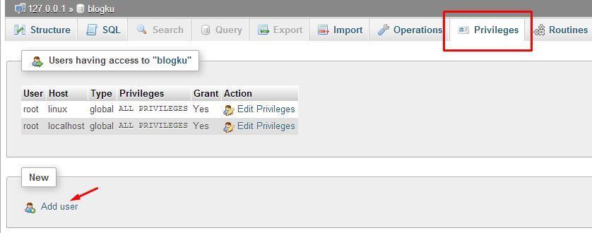 cara membuat database di xampp localhost menambah privilege