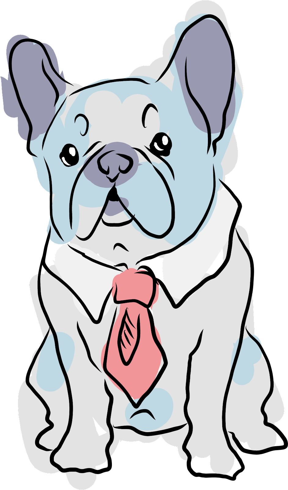 illustration of a French Bulldog wearing a tie
