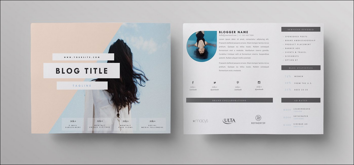 "Two-Page Media Kit - ""Live Freely"" by Blogger Kit Co. - social media kit"