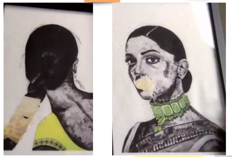 Two paintings side by side. To the left is the back of a woman's head. Her hair is tied and she wears a yellow top. Part of her hair is taped off with masking tape.   On the right is the face of a brown woman. She is wearing a green necklace and a sari top. Her mouth is covered with masking tape.