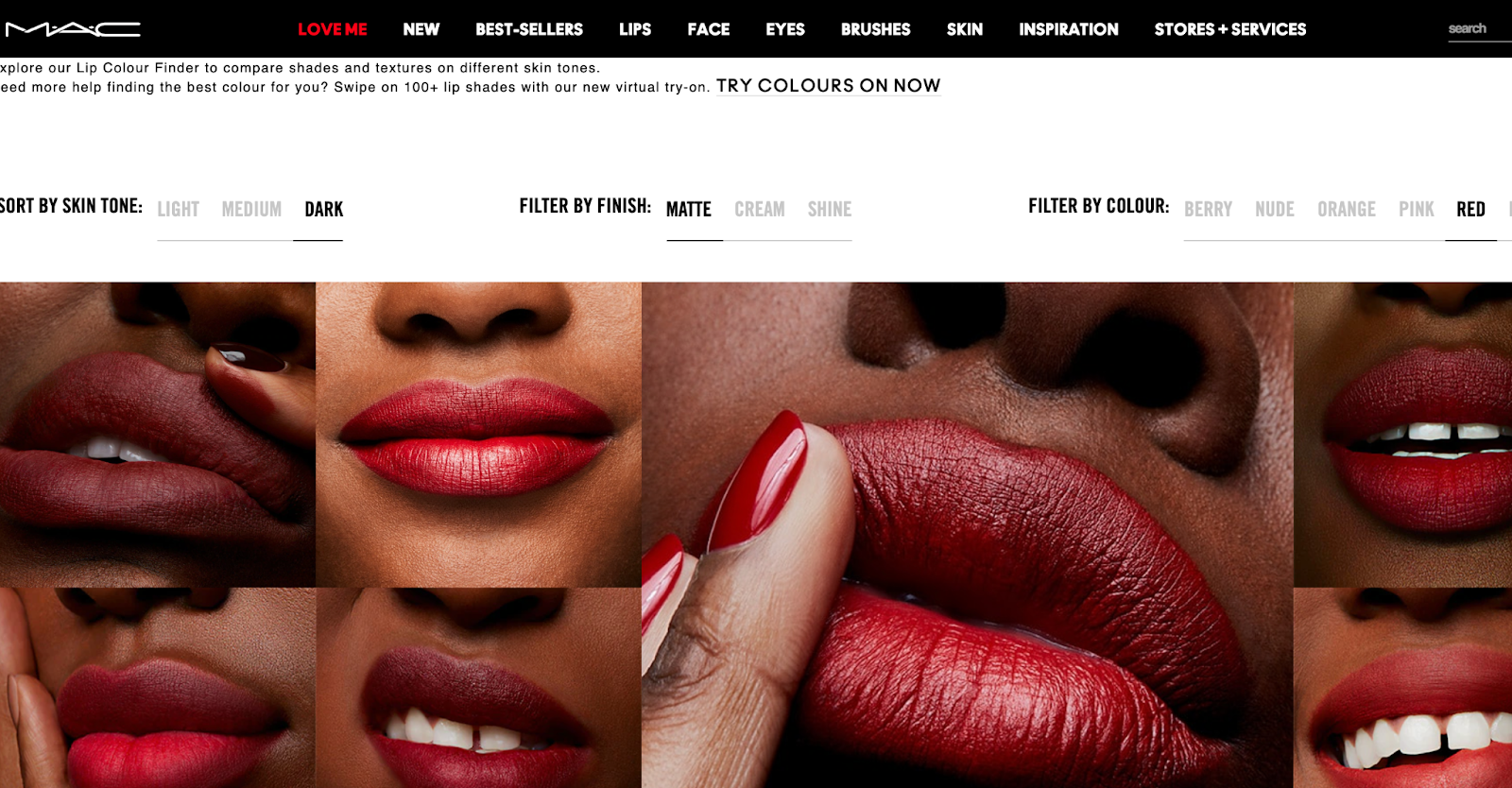 guided selling lipstick finder mac