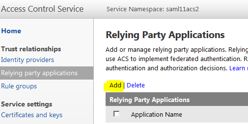 Relying Party Applications Settings