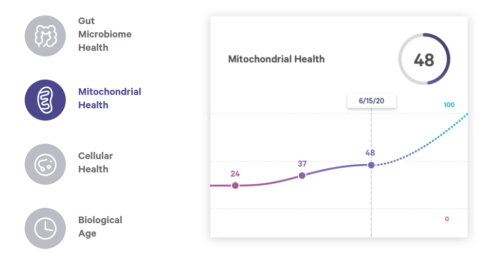 An example of some of the results of the Health Intelligence test. Mitochondrial Health data shows results from multiple tests. Customers would need to purchase the Health Intelligence test each time.