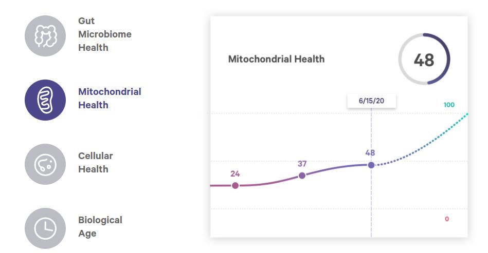 Un exemple de certains des résultats du test Health Intelligence. Les données sur la santé mitochondriale montrent les résultats de plusieurs tests. Les clients devraient acheter le test Health Intelligence à chaque fois.