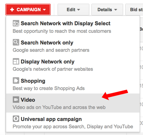 Creating a video campaign within your Adwords account