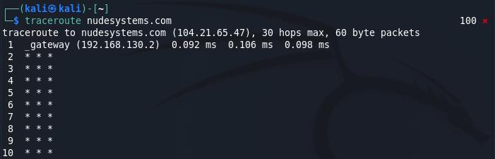 Passive reconnaissance - traceroute command on Kali Linux. Source: nudesystems.com