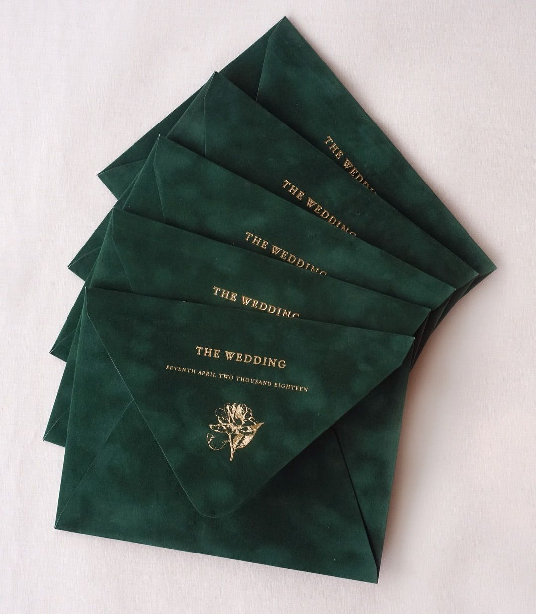 Incorporate your wedding color to your invitations - Dark emerald green velvet wedding invitation - Wedding Color Schemes for Fall - Wedding Soiree Blog by K'Mich, Philadelphia's premier resource for wedding planning and inspiration - parler studio on instagram